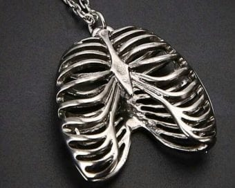 Anatomical Rib Cage Necklace, Gothic Jewelry