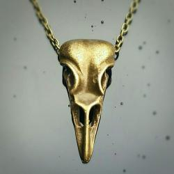Brass Crow Skull Necklace, Skull Jewelry, Gothic Jewelry