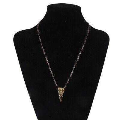 Brass Bird Skull Necklace, Gothic Jewelry