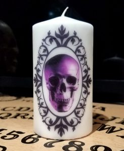 Candle-Large-Gothic-Horror-Decor-Skull-Candle-Purple