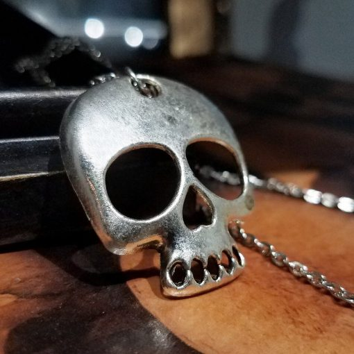 silver skull necklace gothic jewelry
