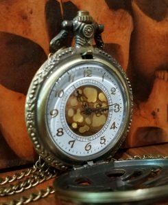 Jewelry, Necklace-Large-Bronze-Ribcage-Clock