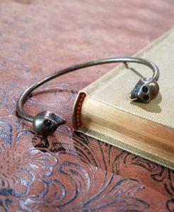 Bracelet-Bangle-Skull-Crystal-Brass-Skull-Jewelry