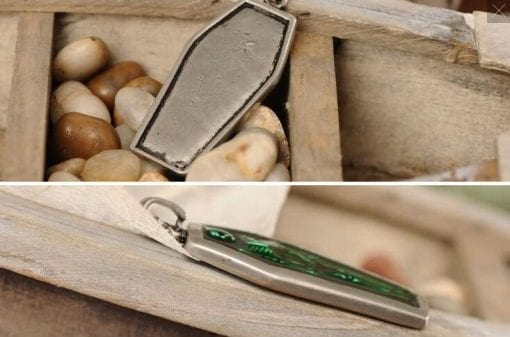 Coffin Pendant, Green Skeleton Necklace, Gothic Jewelry