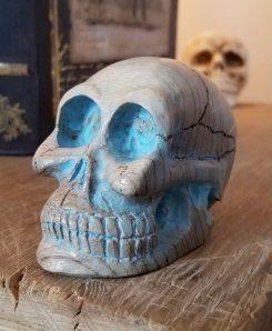 Large Carved Wood Skull, Myrtle Wood, Artwork Oddity Store Oregon Turquoise Skull