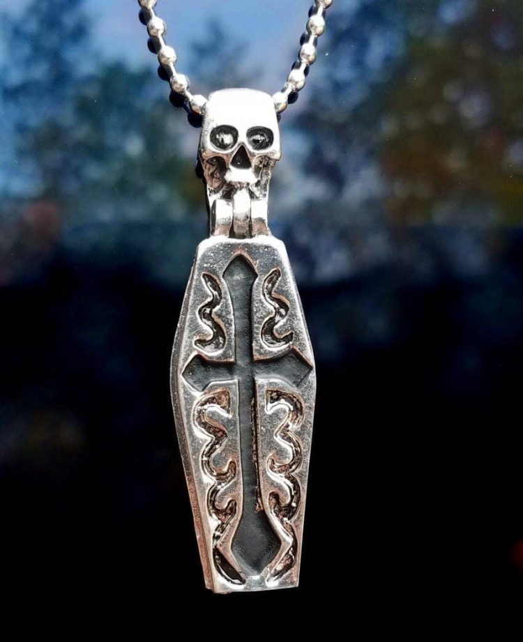 Necklace with Coffin and Skeleton Pendant