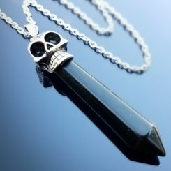 Skull and crystal necklace, Black Obsidian, Gothic Jewelry