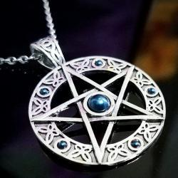 Pentagram Necklace, Blue Crystal Pentacle, Wiccan Jewelry, Gothic Jewelry