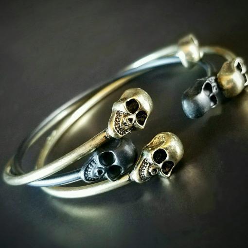 Skull Bracelet, Gothic Jewelry, Skull Bangle