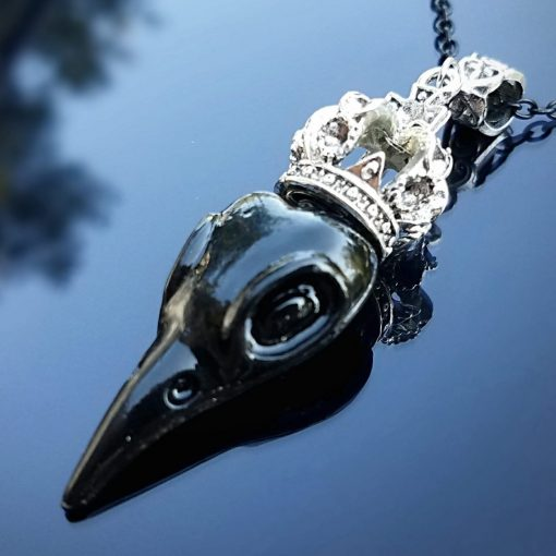 Raven with Crown Necklace, Gothic Jewelry, Bird Skull Necklace
