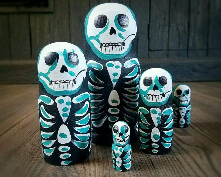 Skeleton Nesting Dolls, Skeleton Russian Dolls, Halloween Decoration, Gothic Decor
