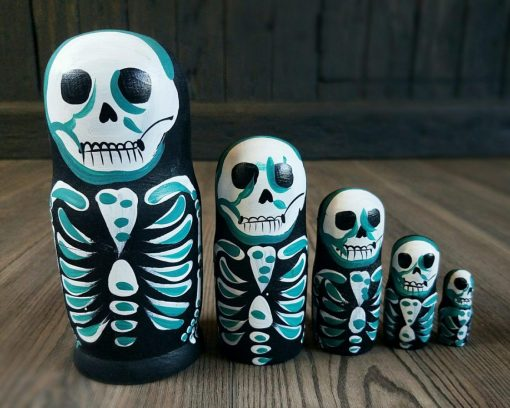 Skeleton Nesting Dolls, Skeleton Russian Dolls, Halloween Decoration, Gothic Decor