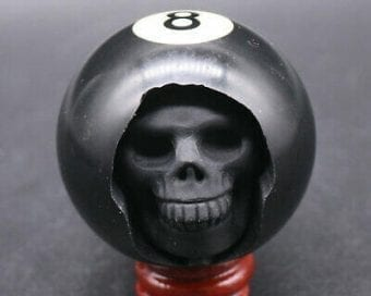 Carved Eight Ball, Carved Skull, Billiard Gifts