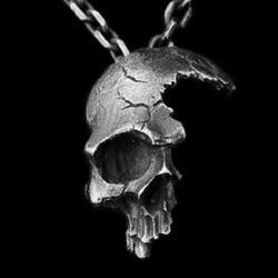 Skull Necklace, Gothic Jewelry, Broken Human Skull