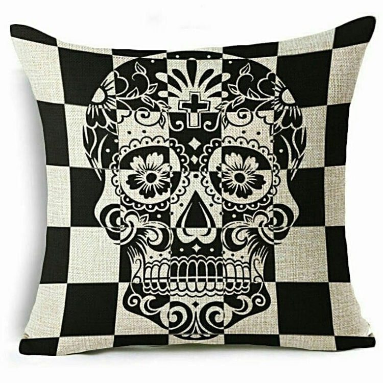 Day of the Dead Throw Pillow, Gothic Decor, Skull Pillow