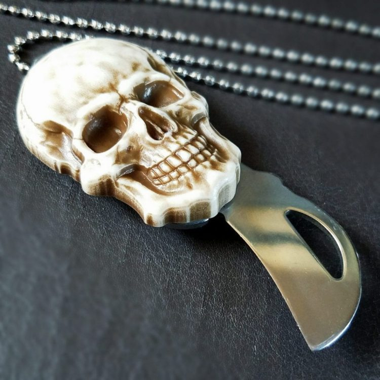 Skull knife Necklace, Gothic Jewelry