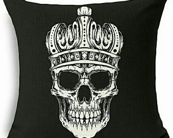 Skull with Crown, Skull Pillow, Gothic Decor