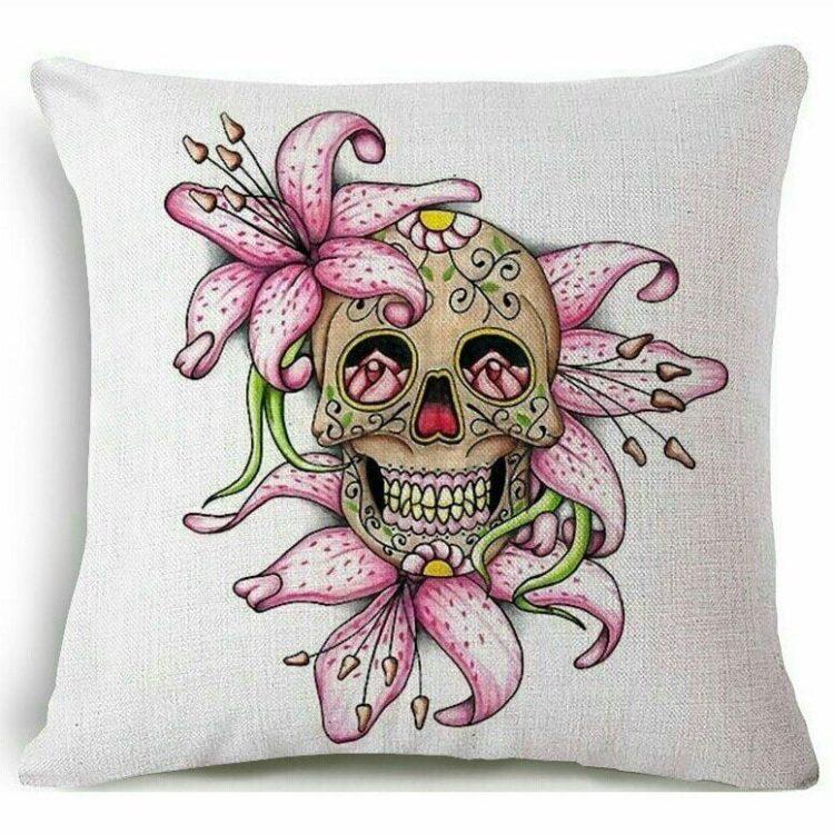 Flower Skull Pillow, Gothic Throw Pillow, Sugar Skull Decor