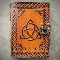 Triquetra leather journal, occult supplies, dream journal