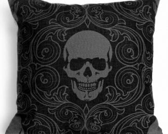 Black Skull Pillow, Gothic Decor, Throw Pillow