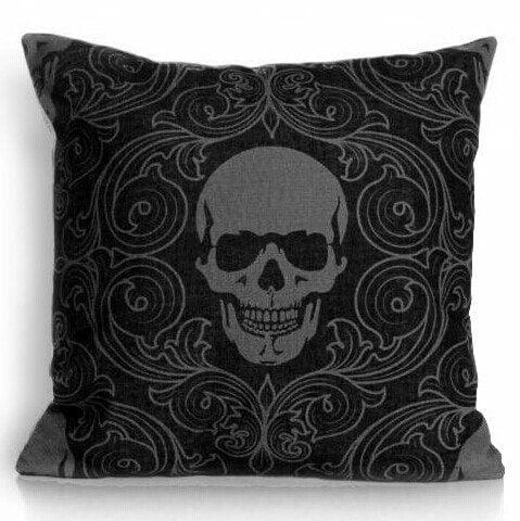 Black Skull Pillow, Gothic Decor, Throw Pillow