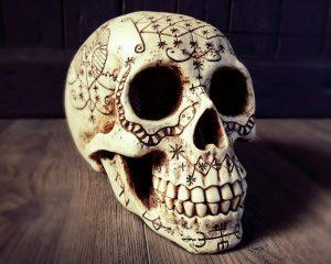 Voodoo Skull, Carved Human Skull, Oddities