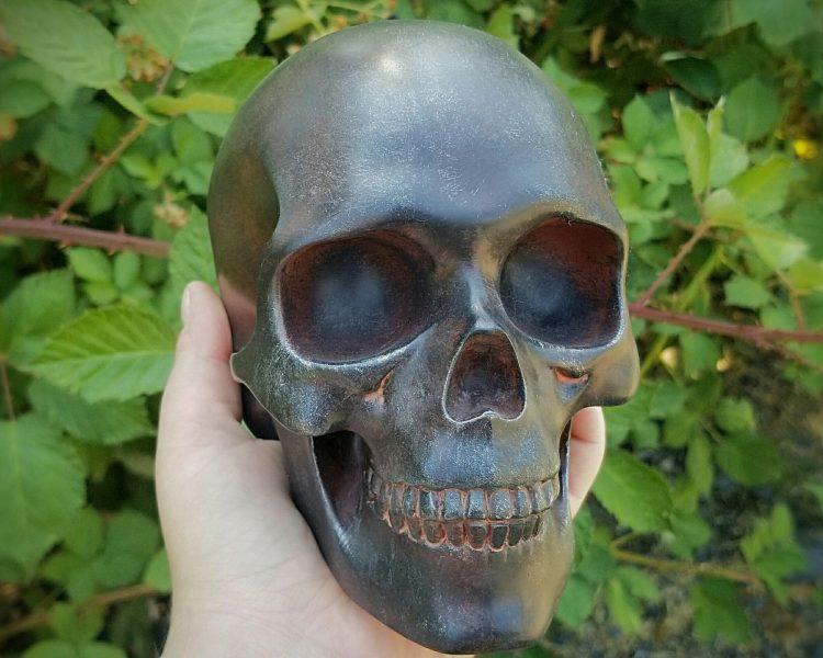 Rusted Iron Skull, Iron Human Skull, Gothic Decor