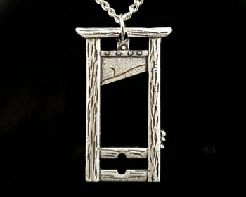 Silver Guillotine Pendant Necklace, Gothic Jewelry, Guillotine Necklace