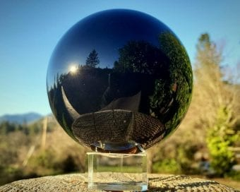 Occult Items For Sale, Black Crystal Ball, Gazing Sphere