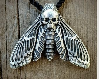 Skull Moth Necklace, Deaths Head Moth Jewelry, Witch Jewelry, Gothic Jewelry