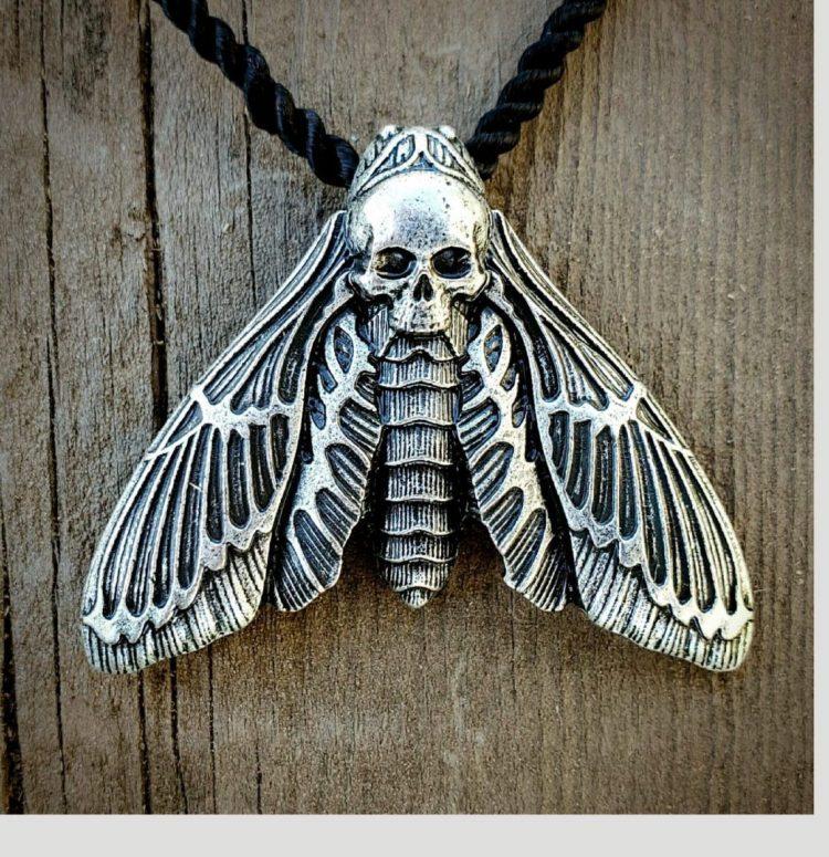 Skull Moth Necklace, Deaths Head Moth Jewelry, Witch Jewelry, Gothic Jewelry