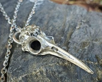 Humming Bird Skull Necklace, Gothic Jewelry