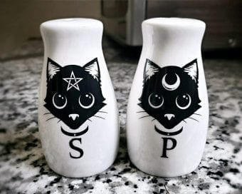 Gothic Home Decor, Gothic Cat Salt and Pepper Shakers, Witch Stuff, Occult Items