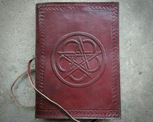 Brown Pentagram Leather Journal, Book of Shadows, Occult Items