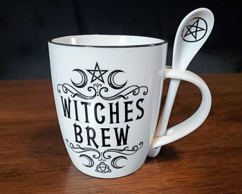 Witches Brew Mug and Spoon, Gothic Kitchen Decor