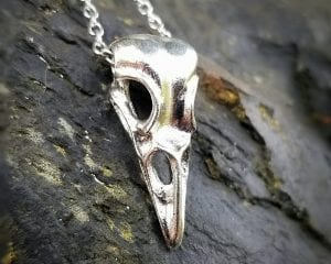 Raven Skull Necklace, Crow Skull Necklace, Gothic Jewelry