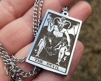 Occult Jewelry, Tarot Necklace, Devil Necklace