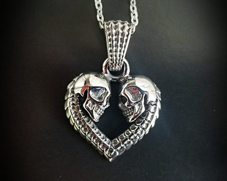 Double Skull Heart Necklace, Gothic Jewelry, Skull Pendant