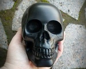 Matte Black Skull, Black Human Skull, Gothic Décor