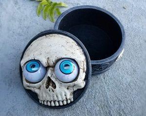 Skull Jewelry Box, Gothic Decor, Googly Eye Skull