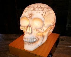 Astrology Skull Lamp, Gothic Décor, Carved Skull Lamp