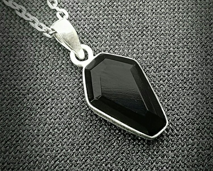 Black Coffin Necklace, Coffin Pendant, Gothic Jewelry