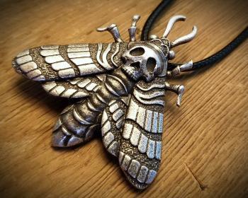 Heath Head Moth Necklace, Gothic Jewelry