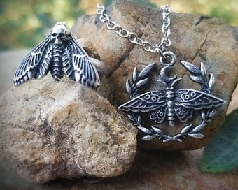 Heath Head Moth Necklace, Jewelry Set, Death Head Moth Ring, Gothic Jewelry