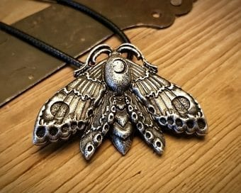 Luna Moth Necklace, Witch Jewelry, Gothic Jewelry