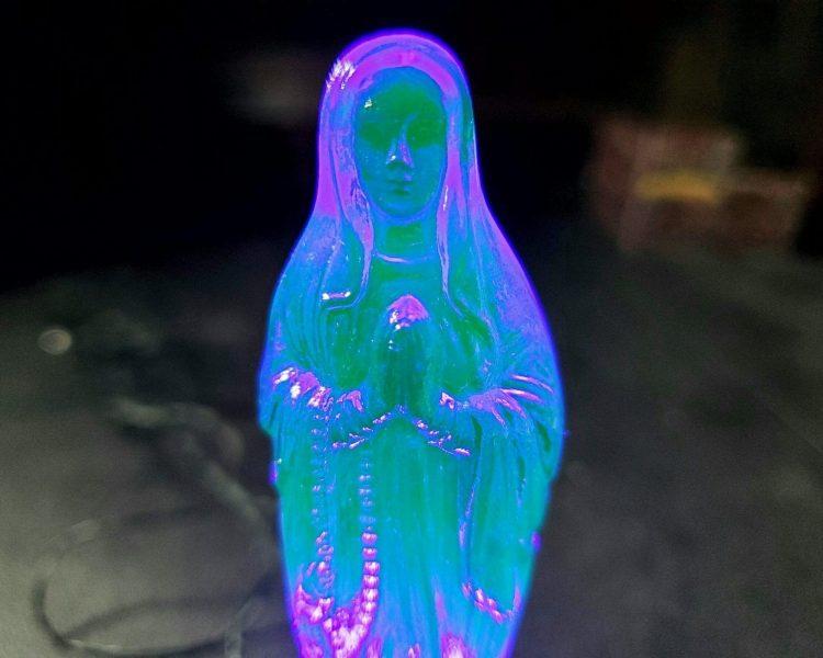 Radioactive Virgin Mary, Vintage Uranium Glass Figurine, Vaseline Glass