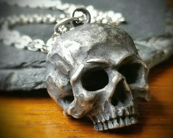 Realistic Skull Necklace, Gothic Jewelry, Skull Pendant