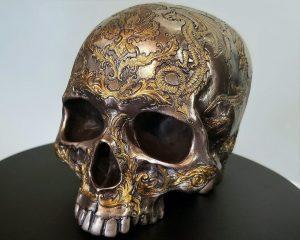 Bronze Skull, Bronze Human Skull, Dragon Skull, Gothic Decor