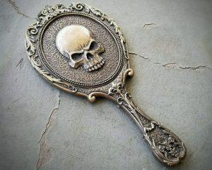 Gothic Hand Mirror, Skull Mirror, Gothic Gifts