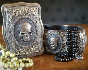 Skull Jewelry Box, Gothic Decor, Bronze Skull Trinket Box